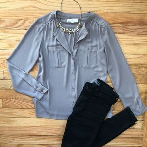 Button down collarless blouse